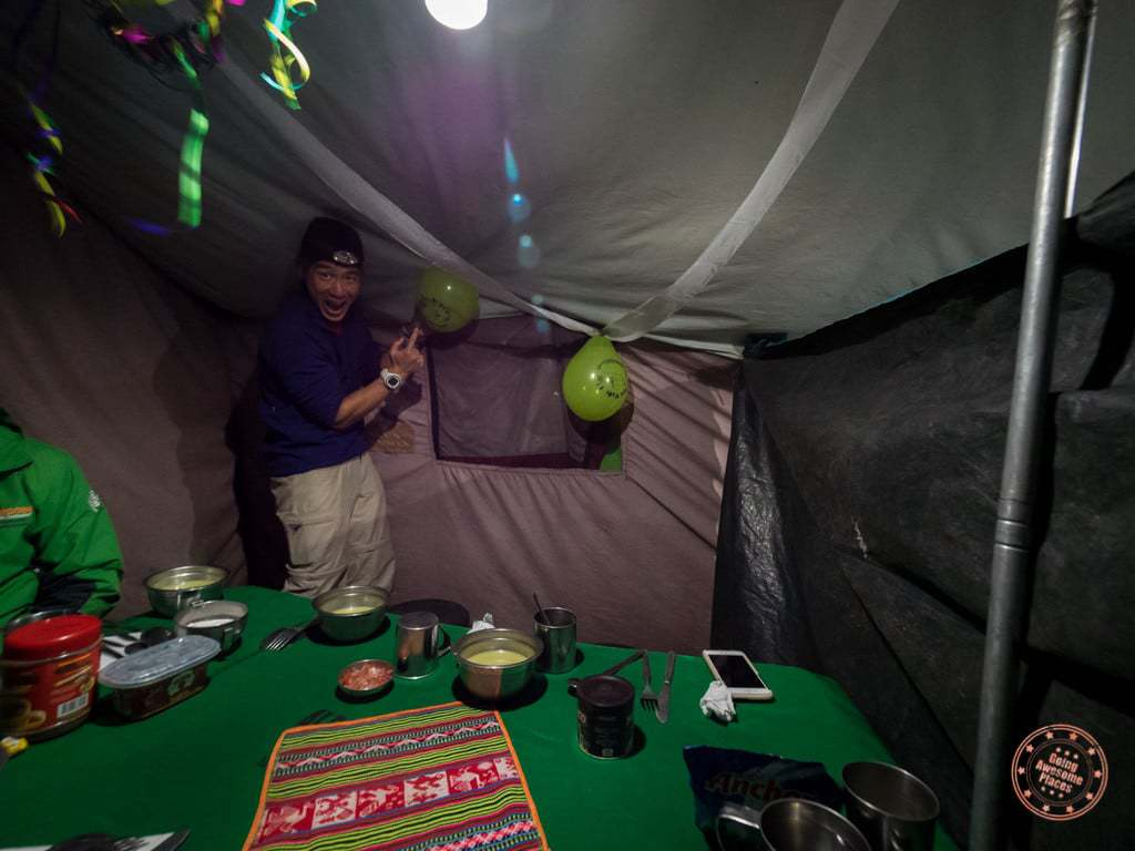 We get back to our camp at around 6PM and that's when the party began. Look at our dining tent all decked out in toilet paper streamers and balloons!