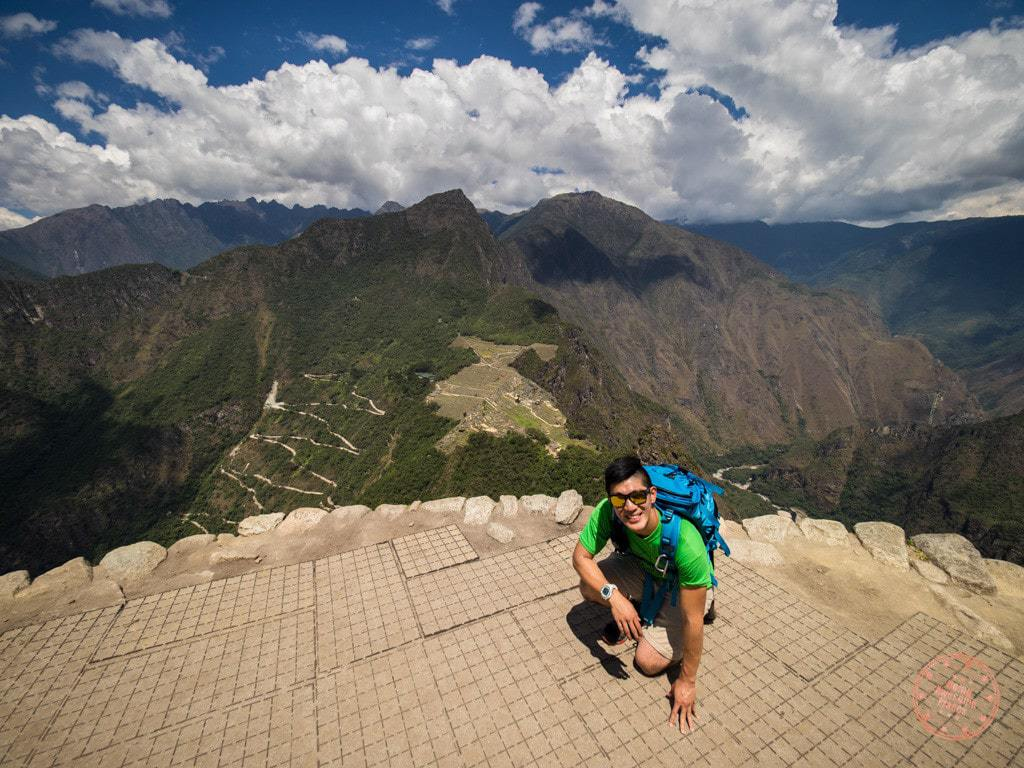 After a ton of switchbacks and chained stretches, we finally make it up to top of Huaynu Picchu where you get this alternate view of Machu Picchu. I was way too scared to stand up.