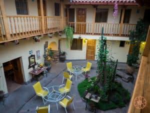 Apu Huarascan Hostel Courtyard in Cusco Peru