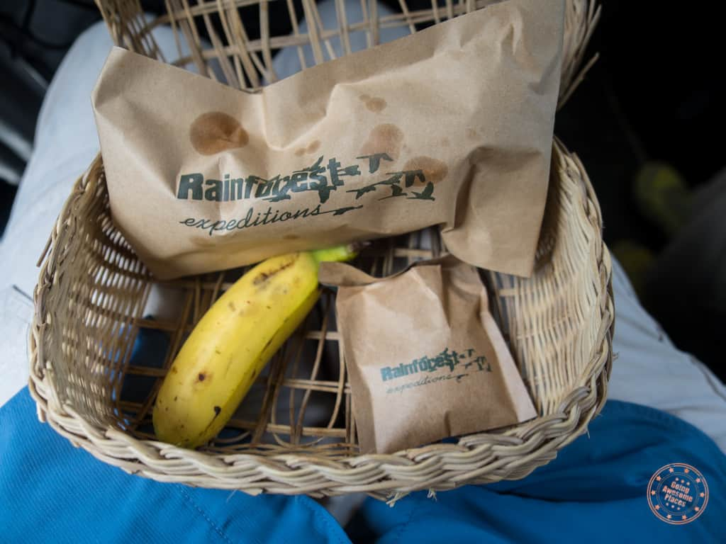 Rainforest Expeditions Welcome Snacks on the Bus