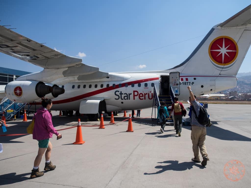 From Cusco, we board our peculiar Star Peru plane.