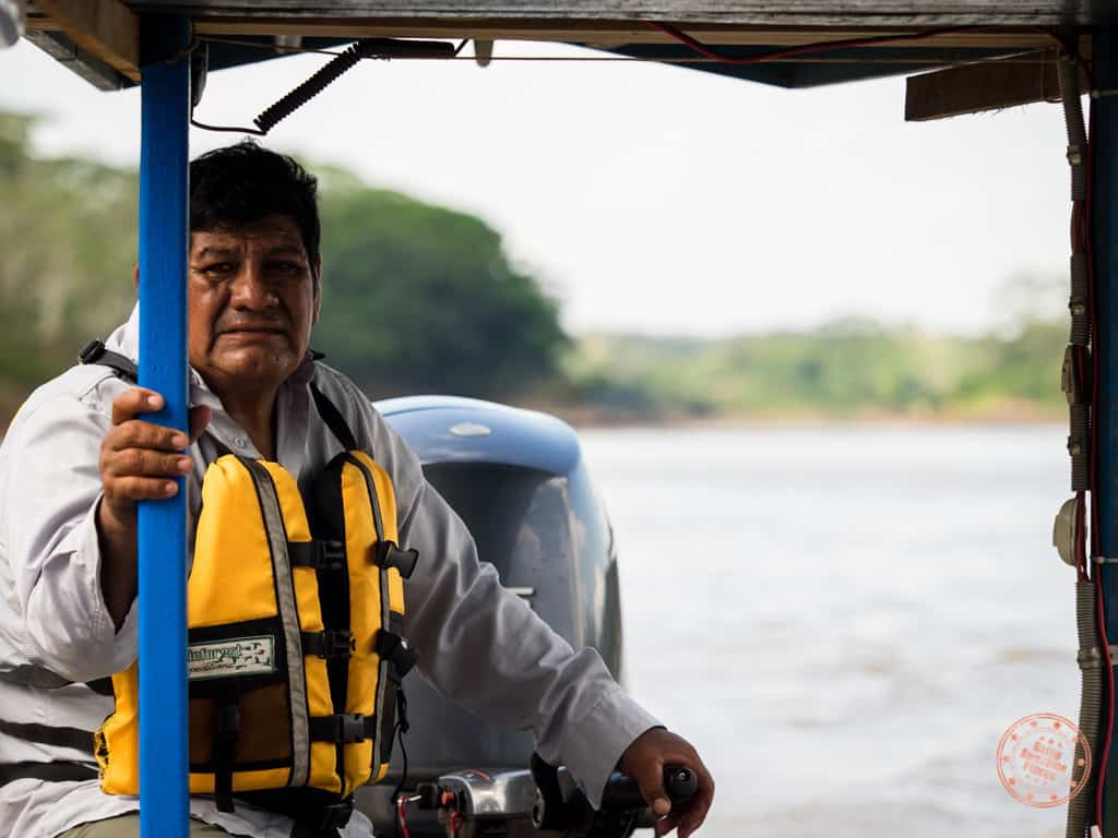 Our long boat captain as we make our 2.5 journey up the Tambopata River.