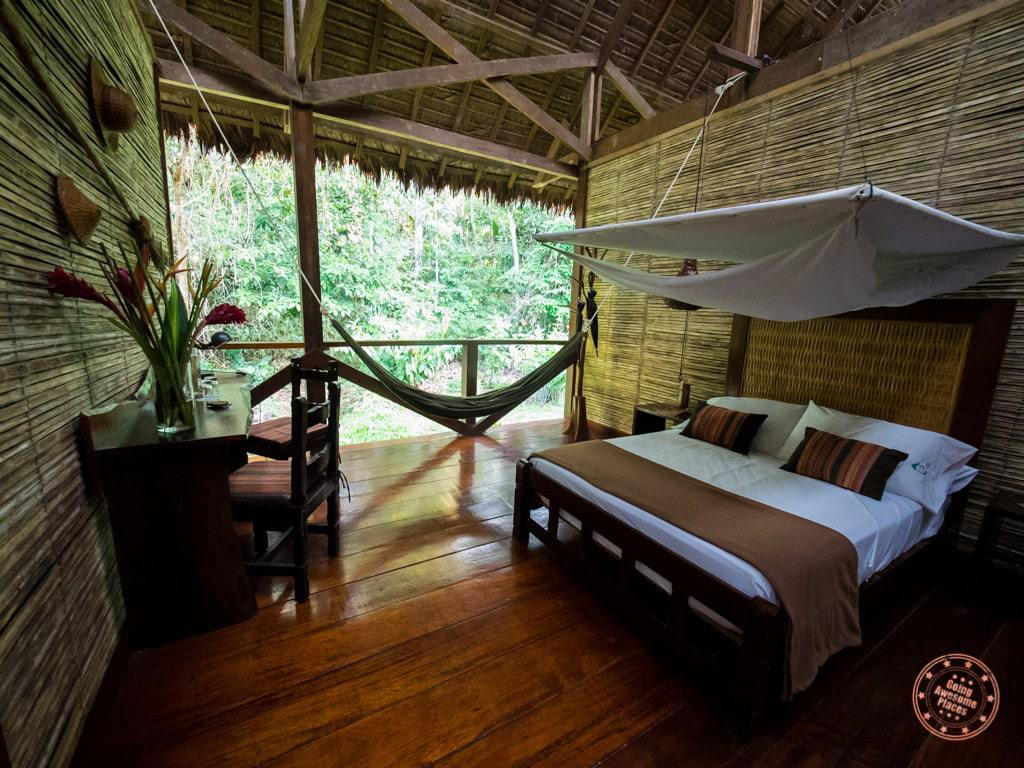 Impressive digs inside the Superior Room at Refugio Amazonas