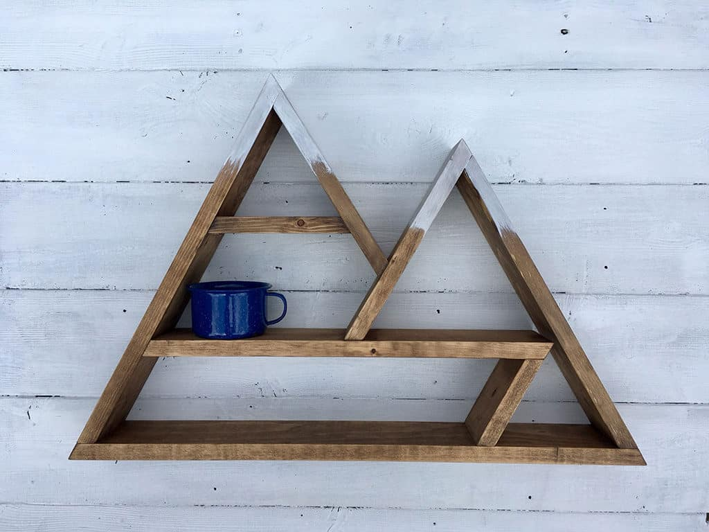 double mountain peak wooden shelf gift