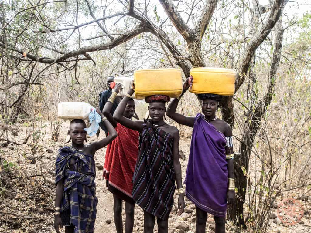 Water is the source of life here and during dry season is it were when I was there, it is part of the daily routine to caravan jerry cans of water from watering hole many kilometers away.