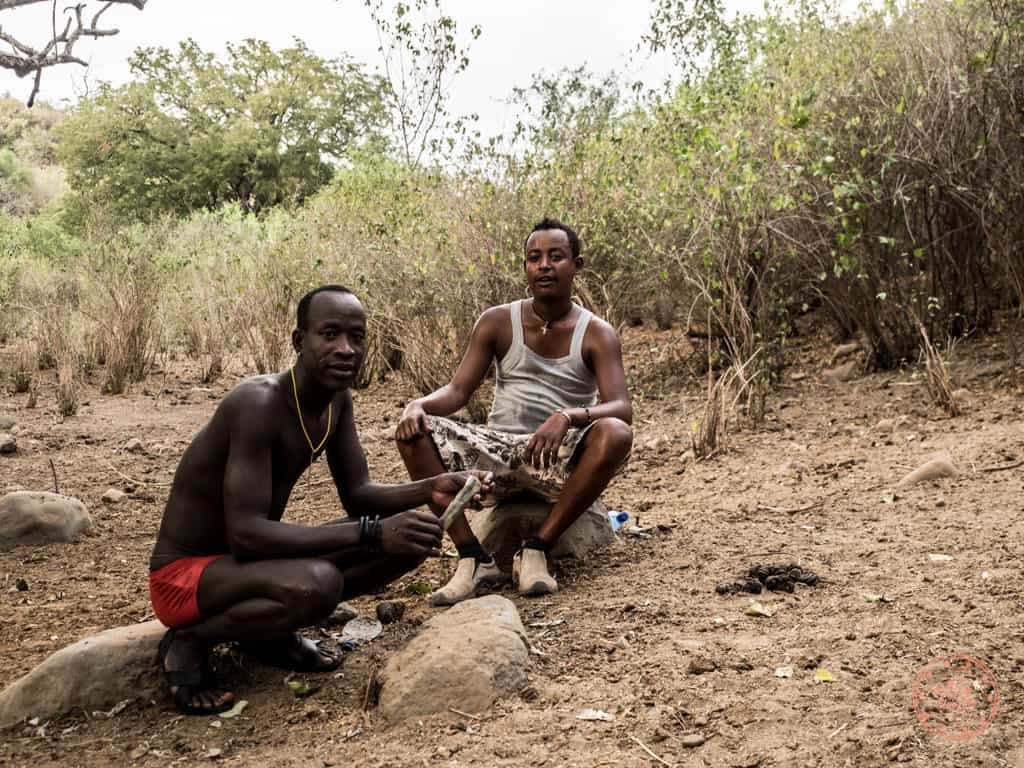 This is Lala to the right, one of our auxiliary guides that joined us to this village since he was the one that had the relationship with the chief that gave us permission to stay with him and be under his protection.