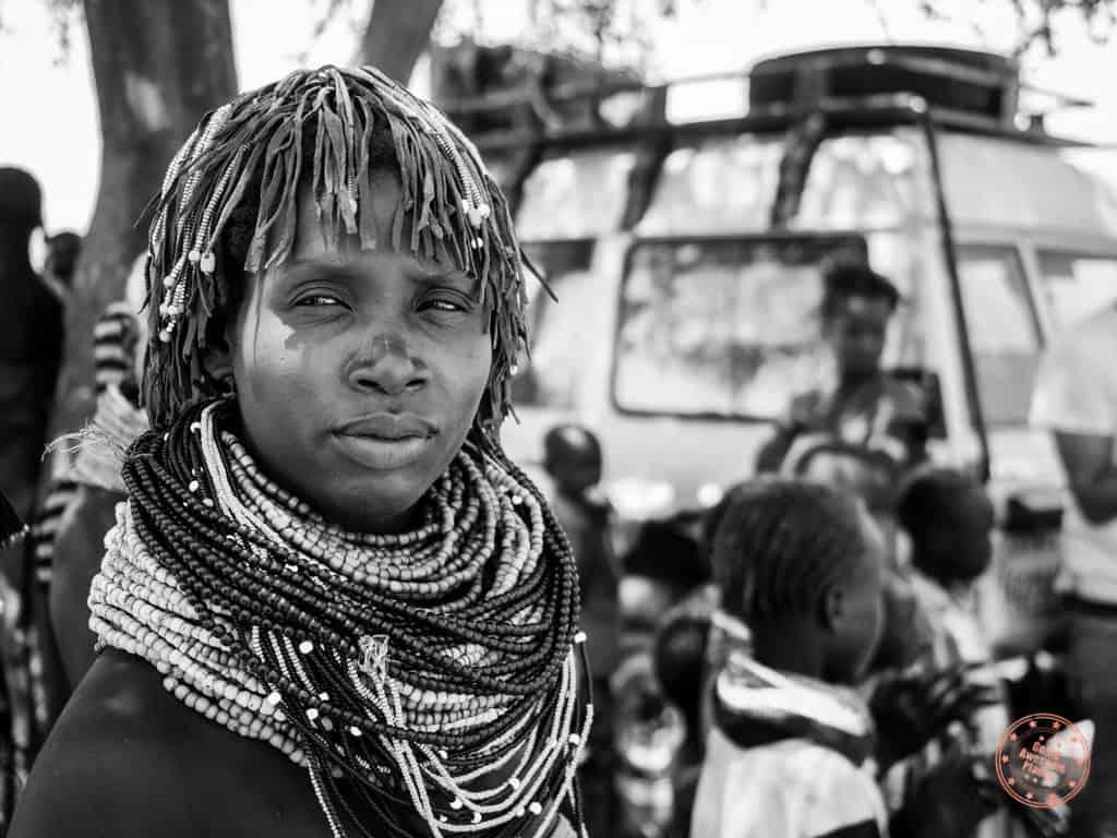 Nyangatom Woman Black and White