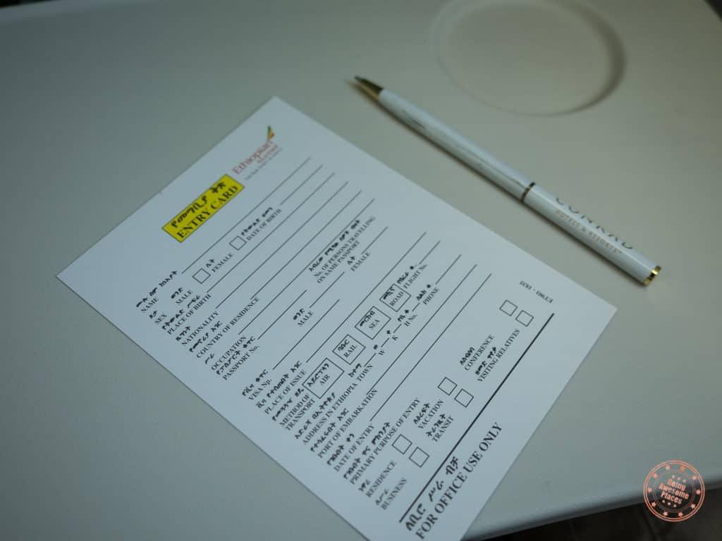 Ethiopia Custom Entry Card