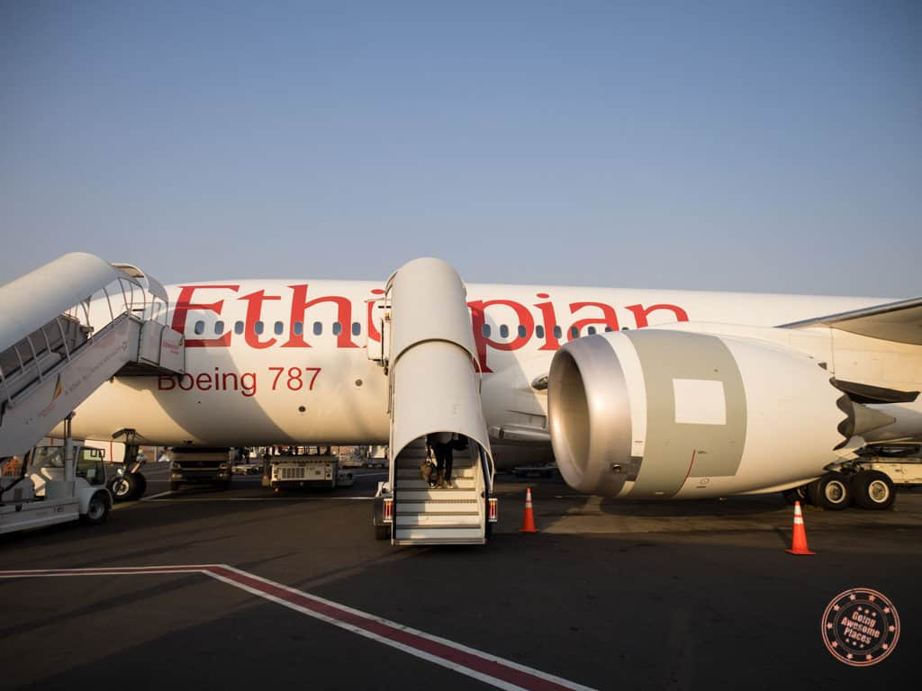 ethiopian airlines 787 landing in addis ababa in ethiopia itinerary