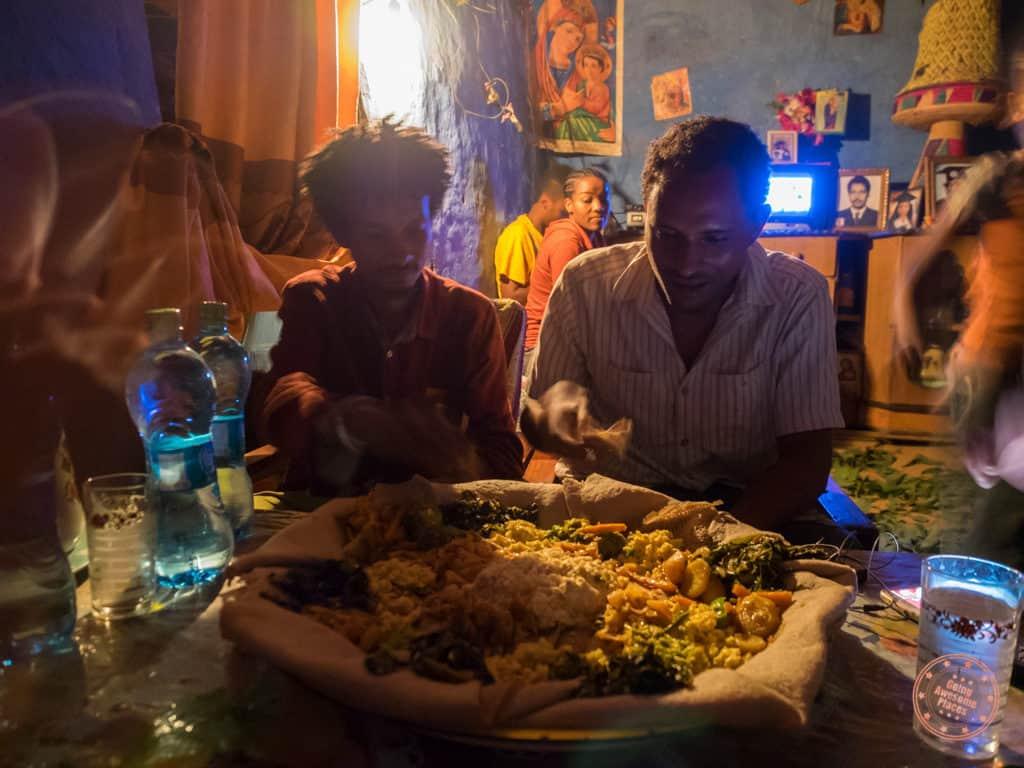 Dinner at Melak's Mom's in Jinka