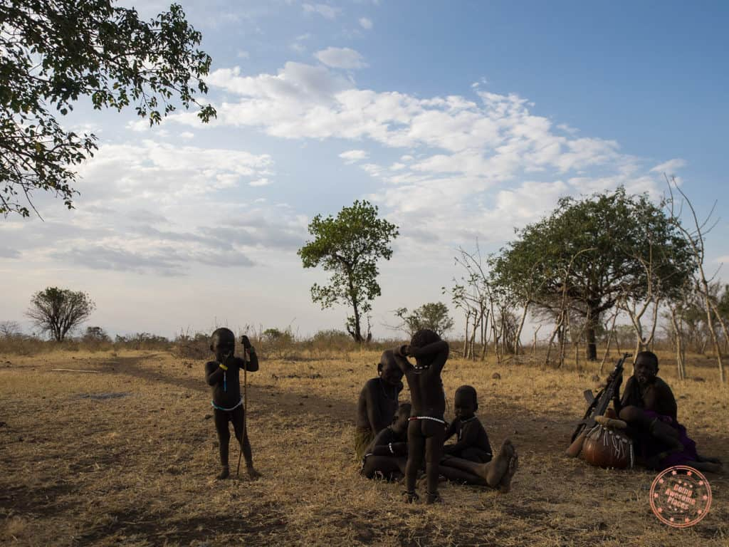 hanging out with mursi tribe children in omo valley