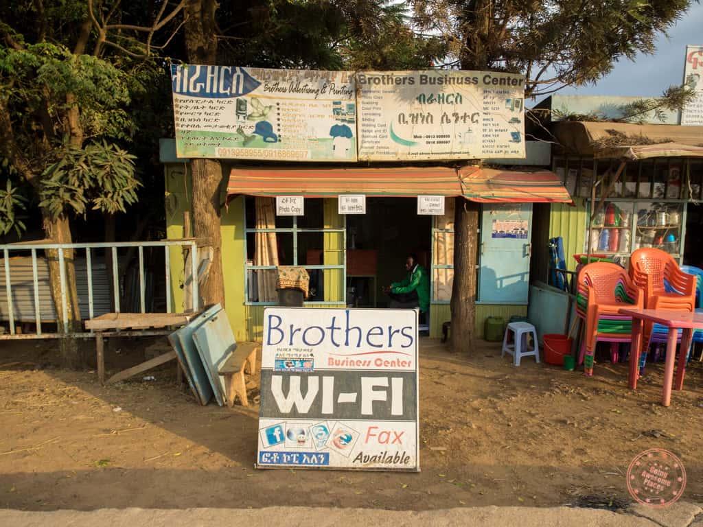 wifi internet cafe in jinka ethiopia omo valley