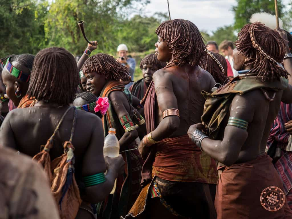 Hamar Tribe Women Celebrating During Bull Jumping Ceremony omo valley guide