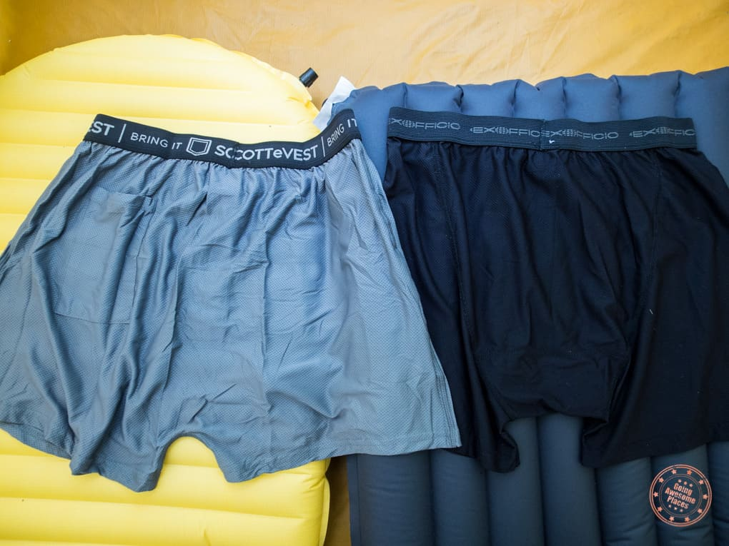 comparing scottevest travel boxers and exofficio give-n-go boxer briefs in a tent
