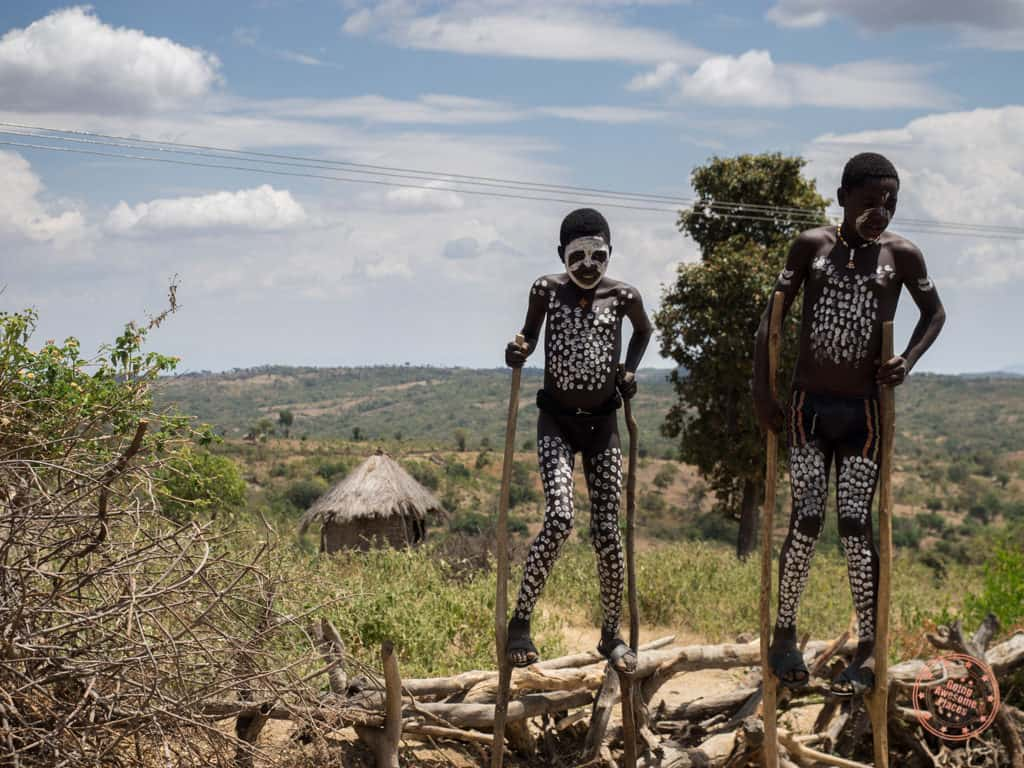 ethiopia omo valley street performers on side of the road