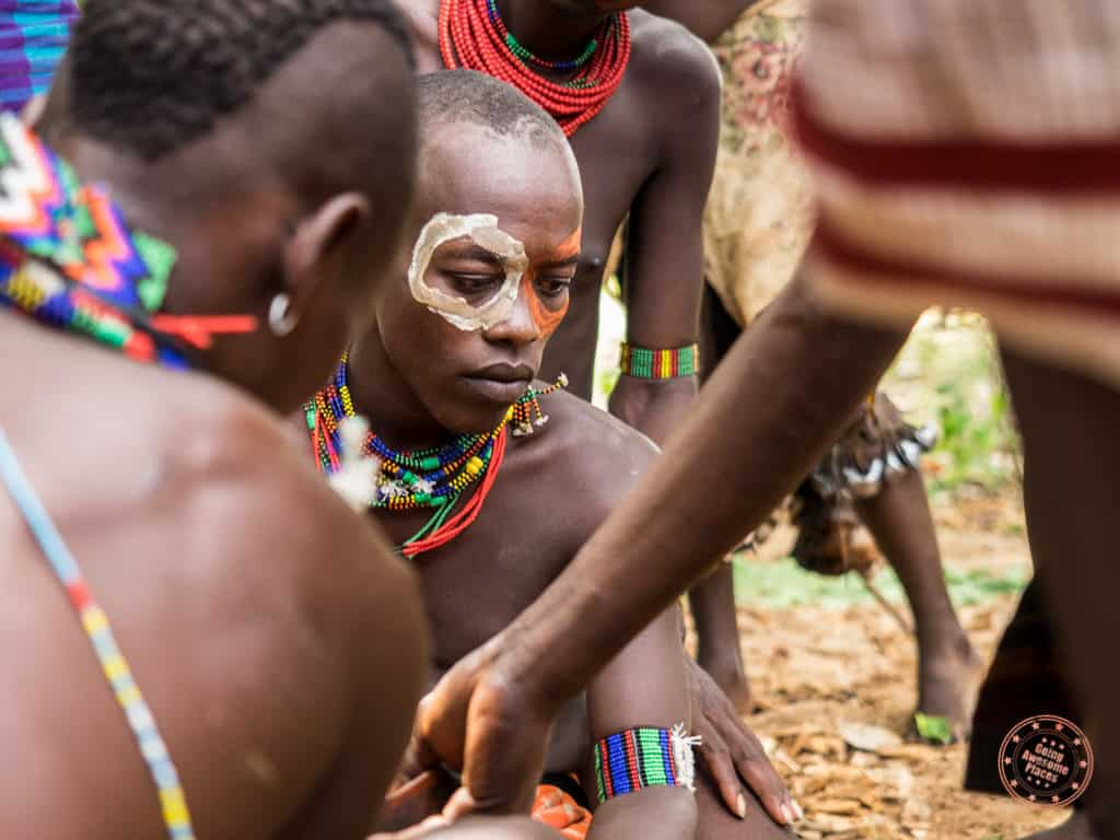 maza painting during bull jumping ceremony omo valley ethiopia