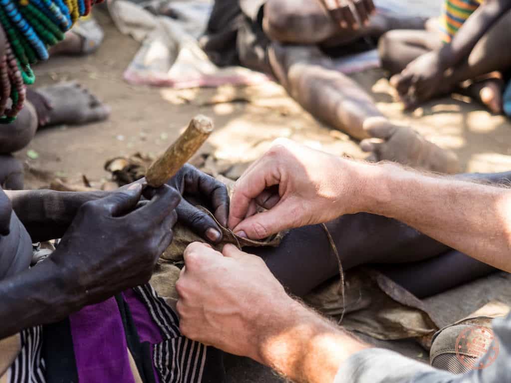 learning to sew with nyangatom tribe in the omo valley