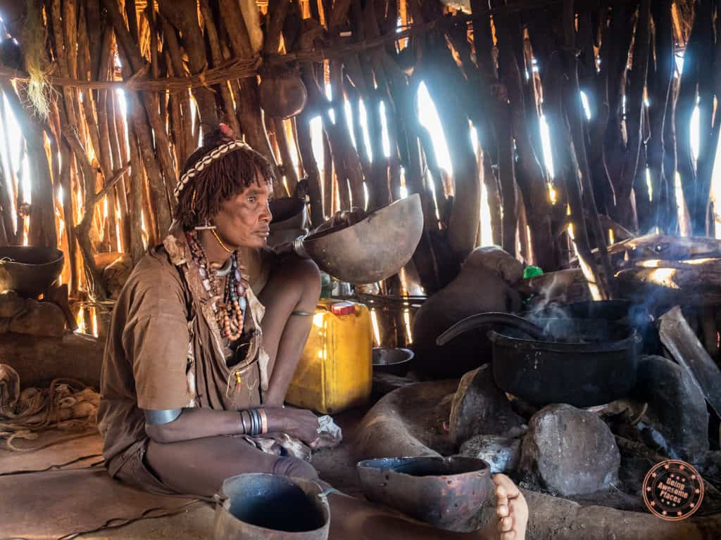 Second Hamar Wife Drinking Coffee Husk Tea