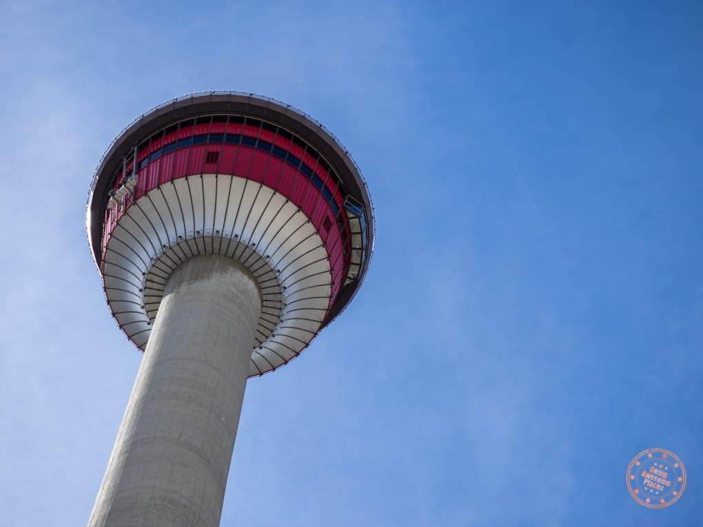 view of the calgary tower from below in this 3 day calgary itinerary