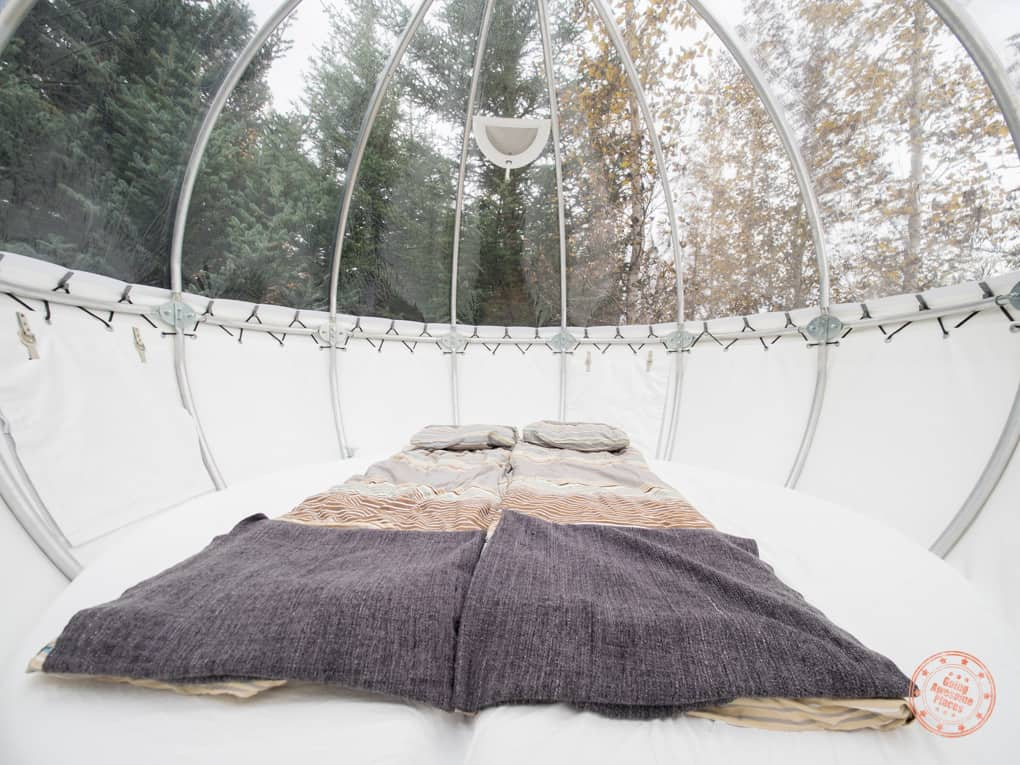 inside the valdis iceland bubble with mattress pillows and blankets