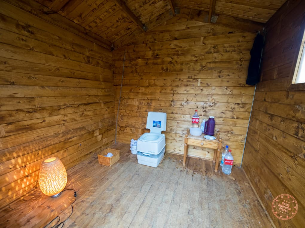 Inside the outhouse for bubble iceland