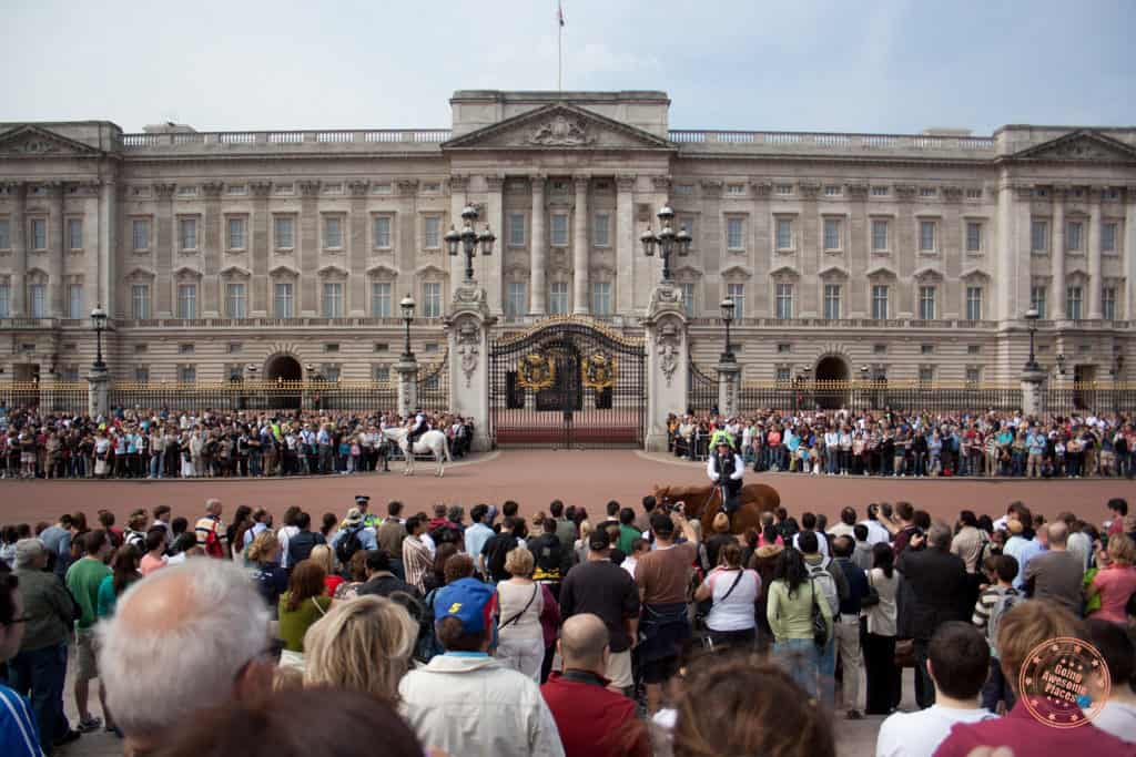 Buckingham Palace in London and the changing of guards in the morning