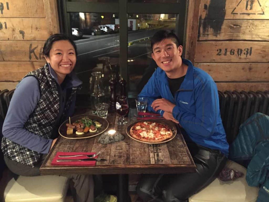 couple eating dinner at pakkhaus restaurant in hofn iceland
