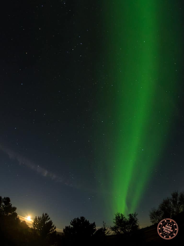 Beam of light in the sky northern lights