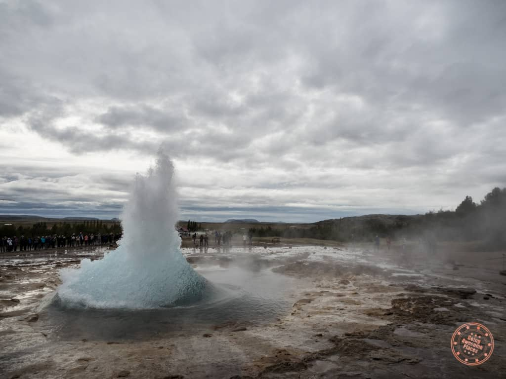 strookkur geysir erupting along golden triangle in iceland 6 day itinerary