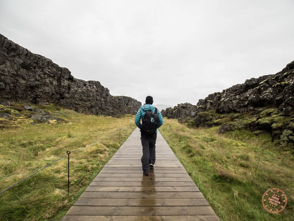 hiking a boardwalk in thingvellir national park on 6 day iceland itinerary