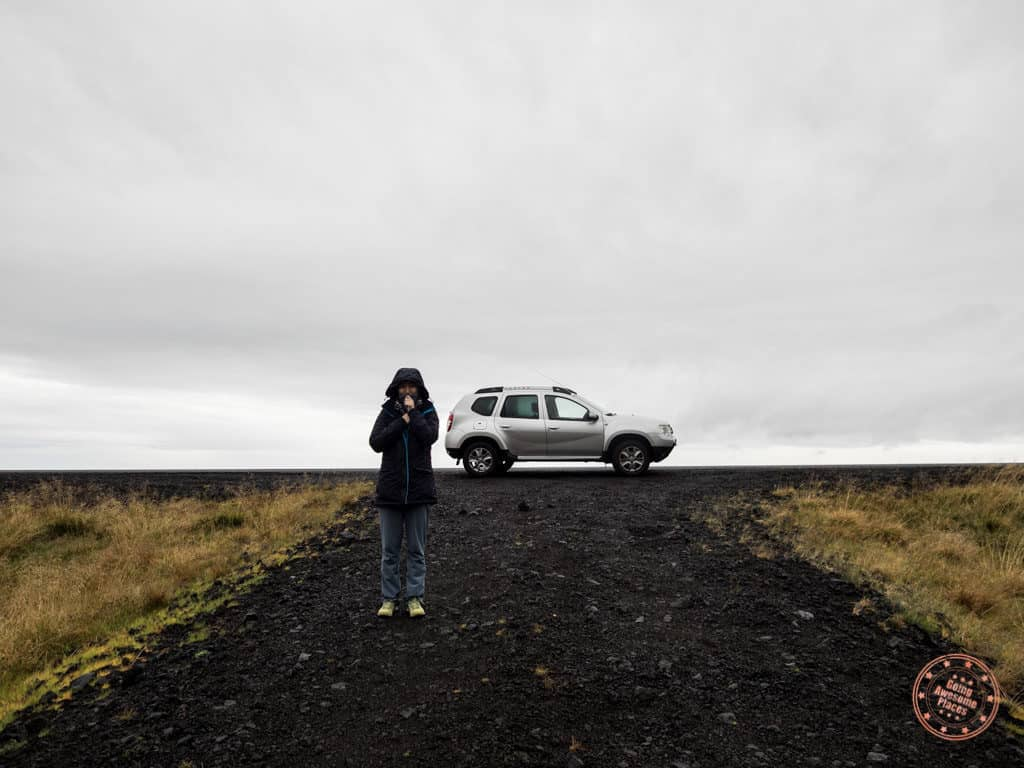 Dacia duster stopped on the side of Highway 1 in Iceland