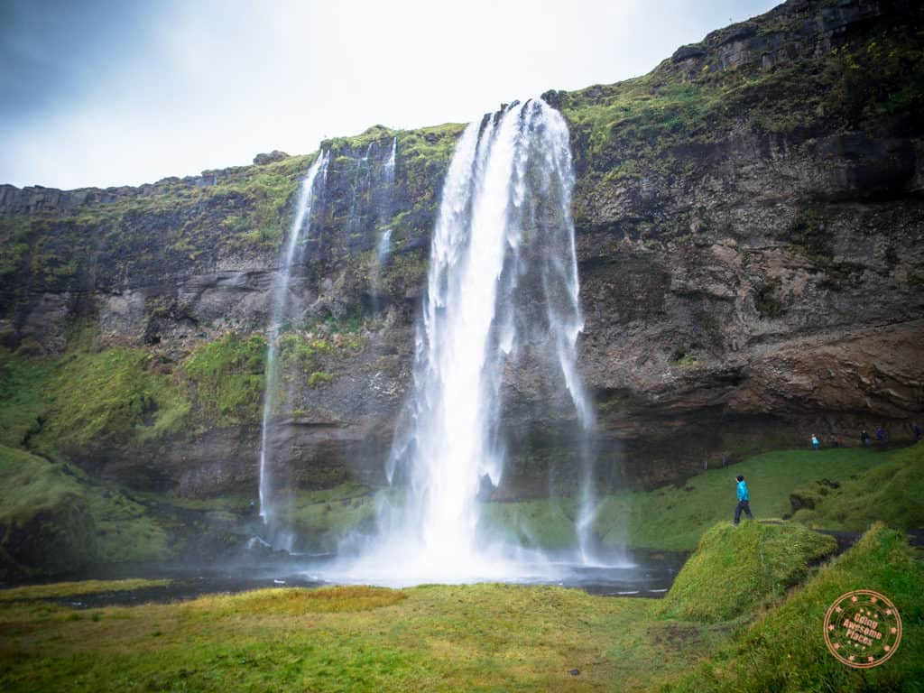 8 day iceland itinerary looking up at seljalandsfoss