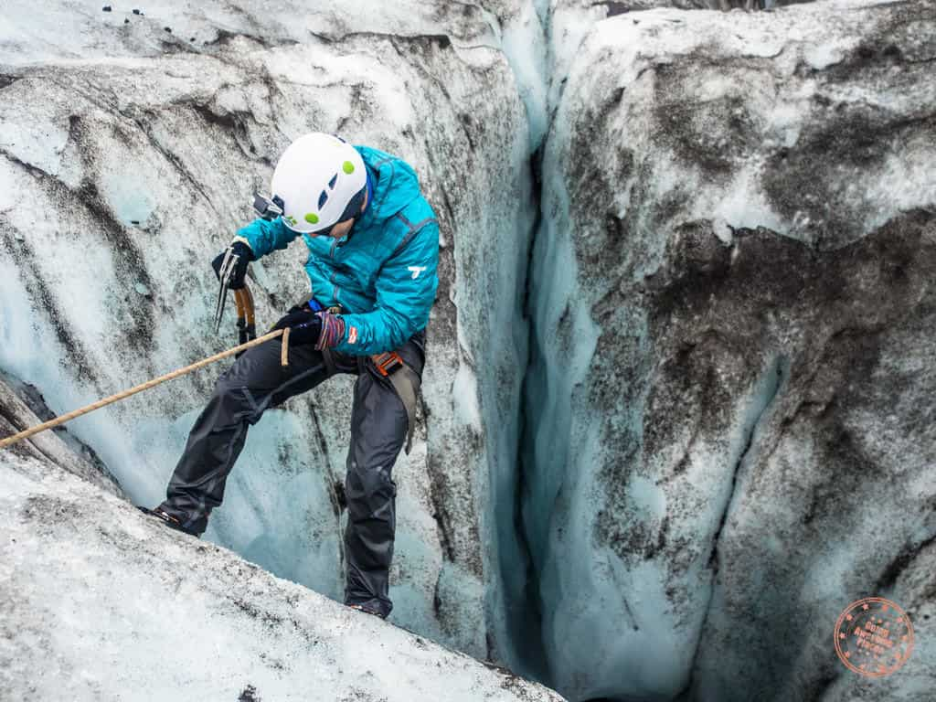 Climbing a moulin in Iceland at Skaftafell