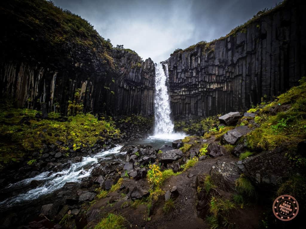 Svartifoss waterfall in Iceland upclose