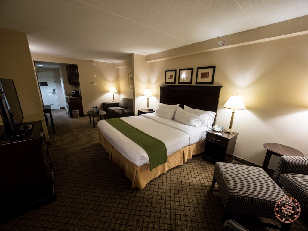 Inside the Huntsville Holiday Inn Express suite with pullout couch