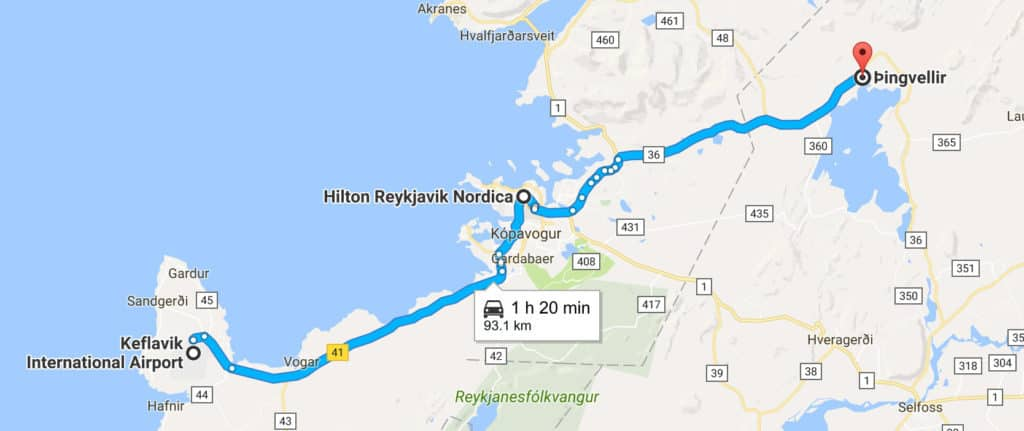 8 day iceland itinerary road trip map - day 1 route