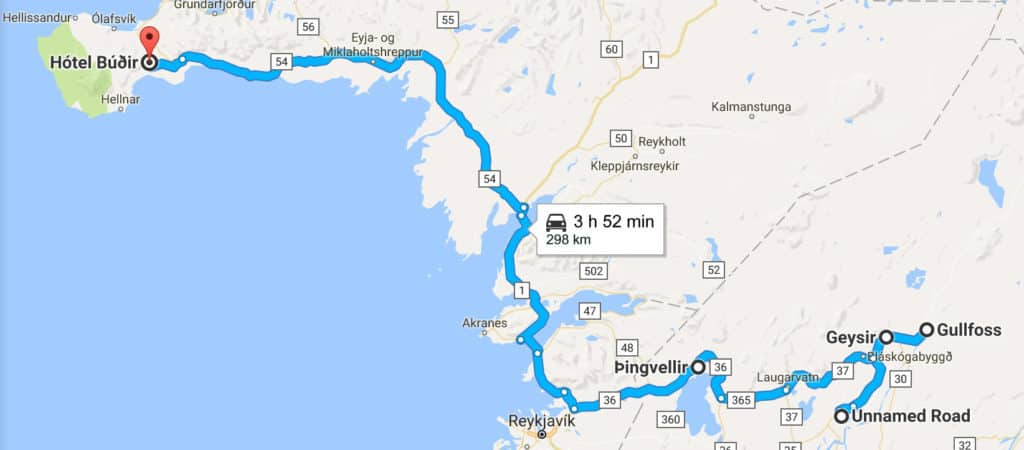 iceland in 8 days itinerary road trip map - day 3 route