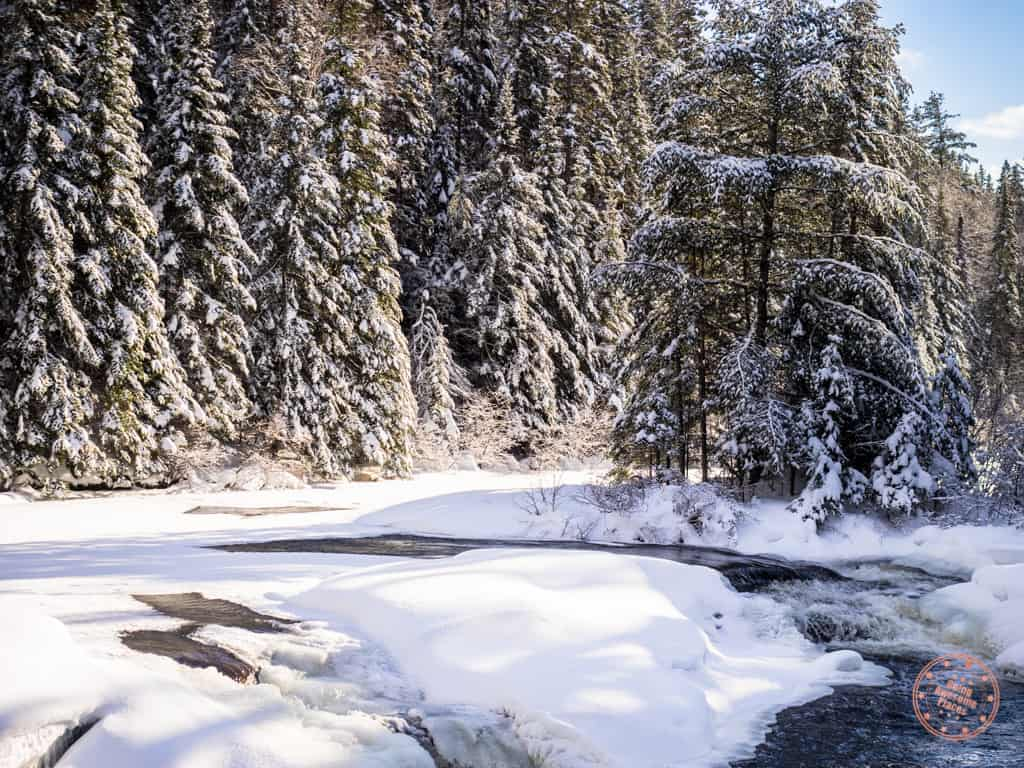 Algonquin Highland Trail River in the Winter While Snowshoeing