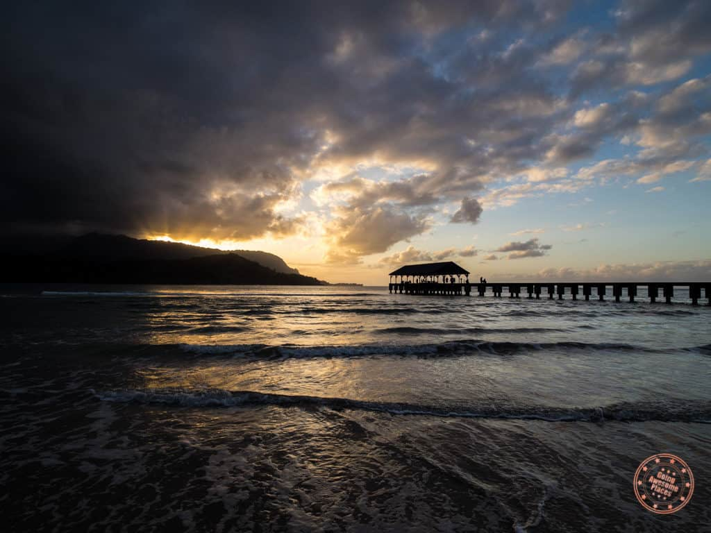 beautiful sunset at hanalei pier which is another memorable moment with kauai in 3 days