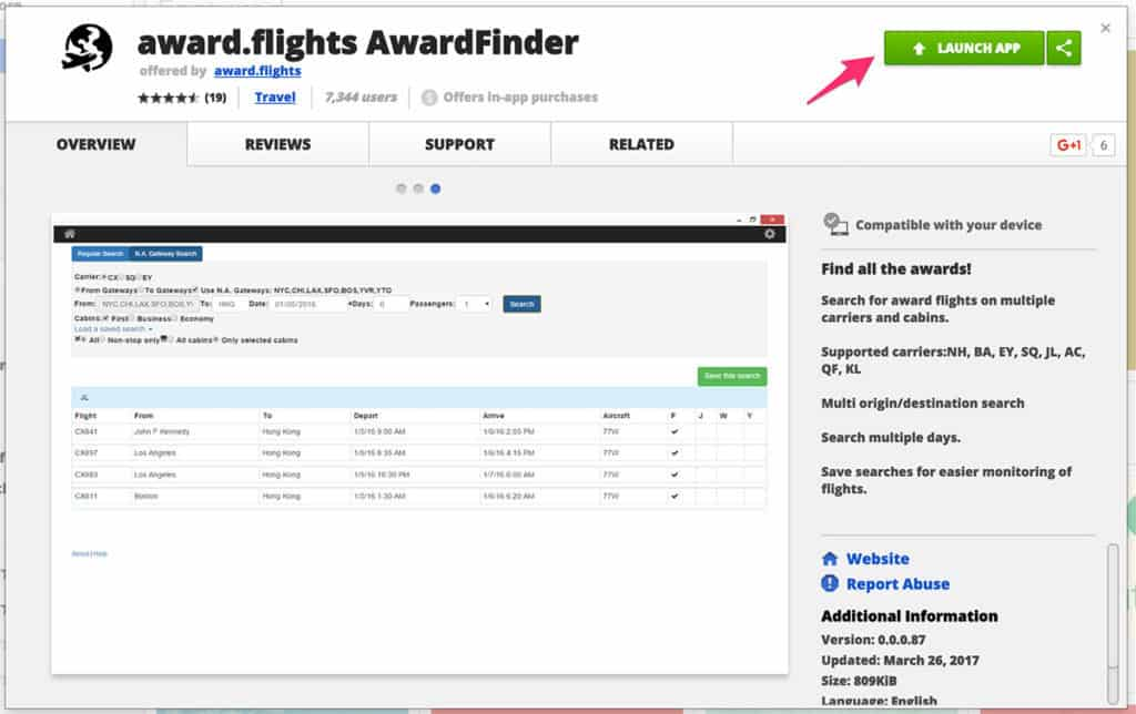 Launch Award Finder from Chrome