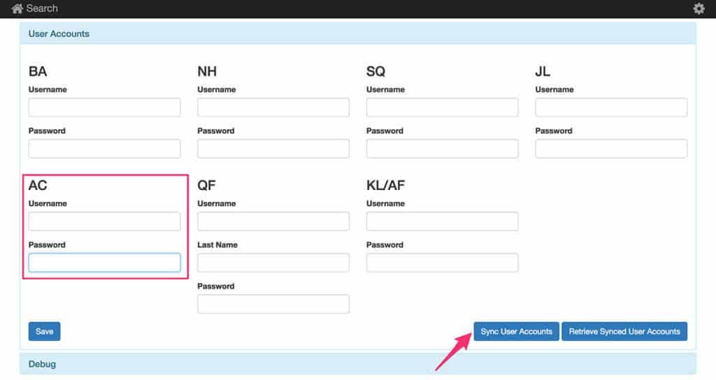 Enter Aeroplan credentials in Award Finder to set up