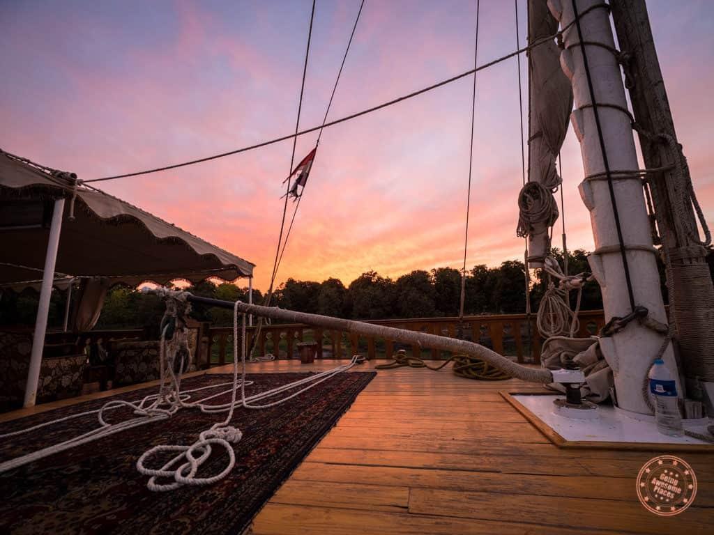 sunset on the djed egypt travel dahabiya orient nile cruise