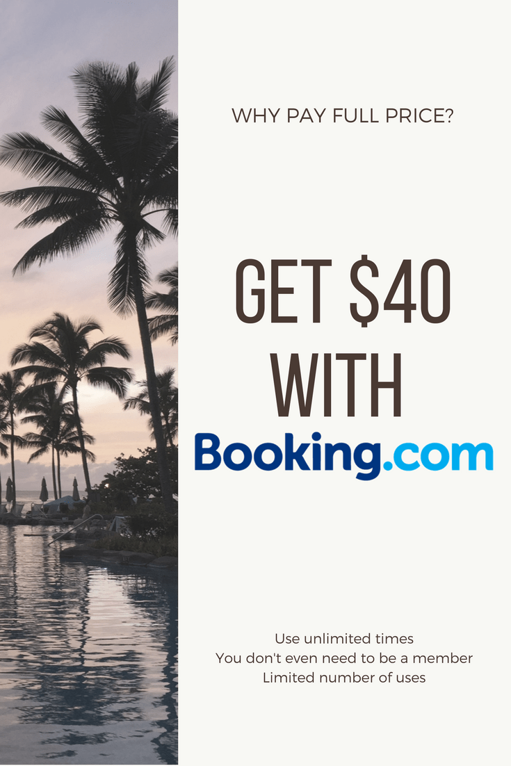 Learn how you can get $40 credit with Booking.com by simply booking and staying. Never pay full price on hotels again!  No strings attached and use it as many times as you wish until it runs out (max 500 uses).