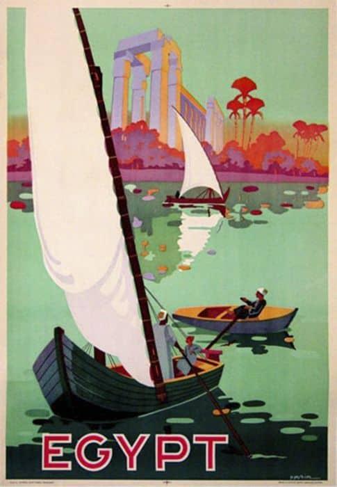 old poster of felluca and dahabiya nile cruise