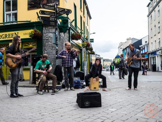An Irish band plays on the streets of Galway