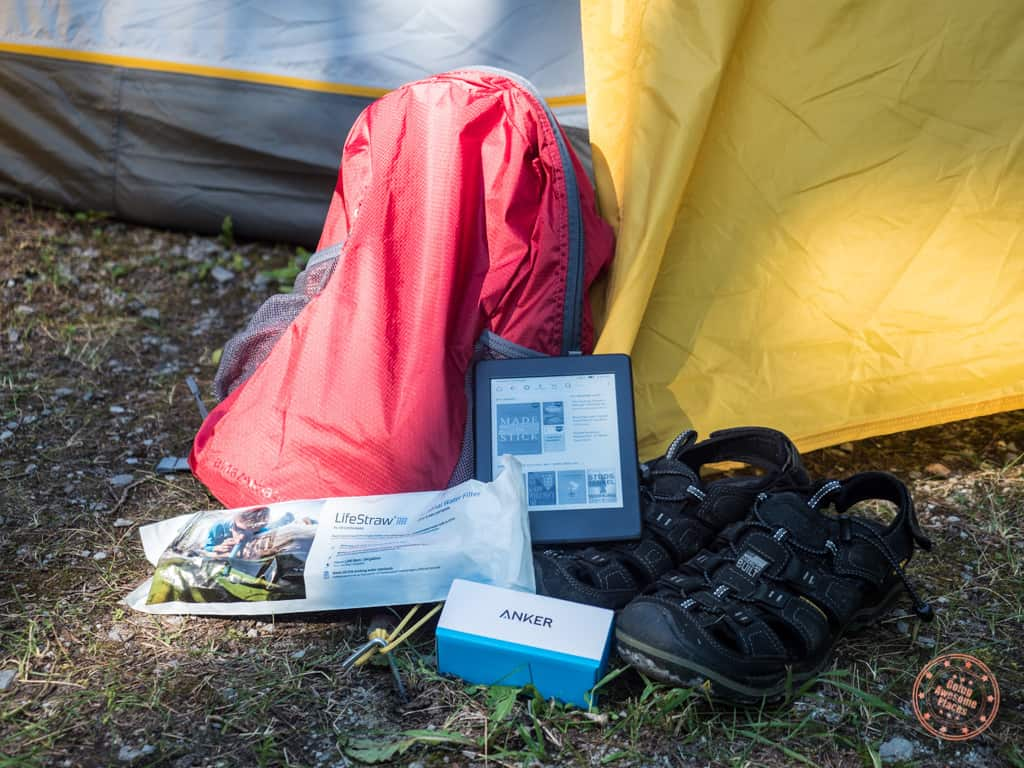 Camping with Kindle, Day Pack, Power Bank, Life Straw and Sandals
