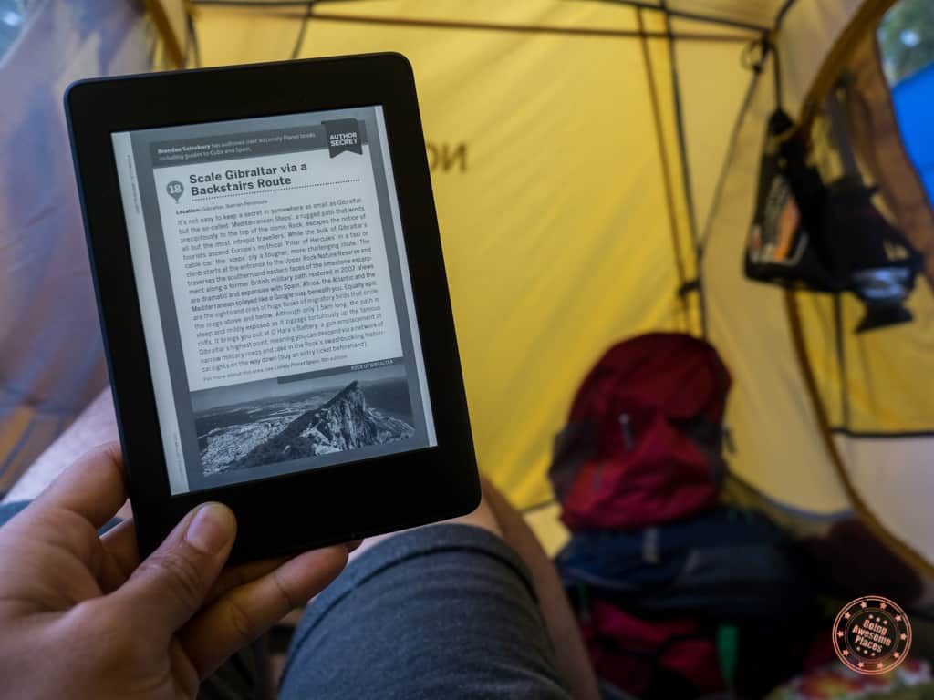Reading The Kindle Paperwhite Inside Tent