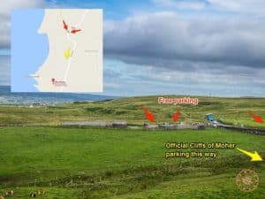 Directions to get free parking at Cliffs of Moher