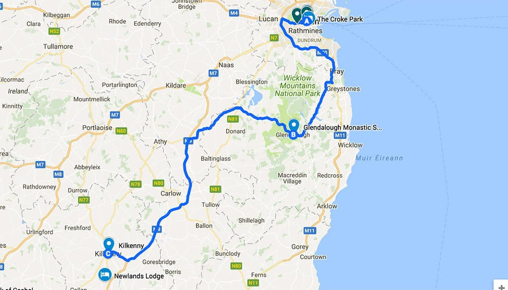 what to see in ireland in 7 days - itinerary road trip map day 1