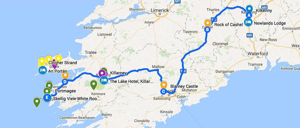 southern ireland itinerary road trip map day 2 - what to see in ireland in 7 days